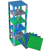 Lot de 6 plaques de base - avec briques Stackers 2x2 améliorées - de qualité - pour construire une tour - compatible avec les plus grande marques - 15,4 x 15,4 cm