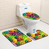 ZDDT Juego de Alfombrillas de baño de 3 Piezas Alfombra de Pedestal Antideslizante + Tapa de baño con Tapa + Alfombra de baño (patrón de Flores de Colores), A