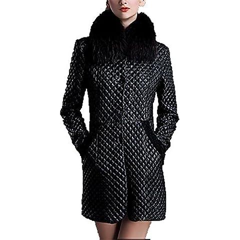 ZQQ invierno cálido imitación gran mapache cuello de piel delgada larga de la chaqueta de cuero de cuero de piel de oveja de las mujeres de la PU , black , m