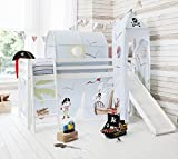 Cabin Bed White Mid Sleeper Bunk with Slide & Pirate Pete Tent
