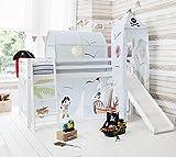 Noa and Nani Cabina Cama Color Blanco Cama litera con Slide & Pirata Pete Tienda de campaña