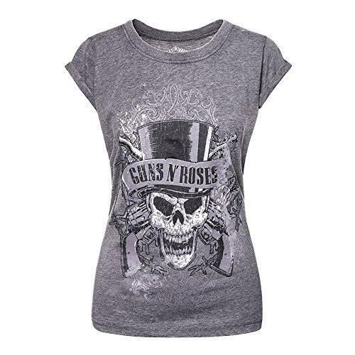 Guns N Roses T Shirt Faded Skull offiziell damen Nue Grau Skinny Fit Burnout (Bananas Frauen T-shirt)