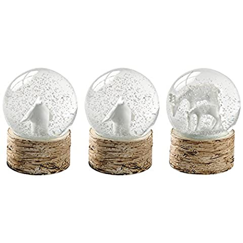 WeRChristmas Snowflake Deer and Penguin Snow Globe Christmas Ornaments -