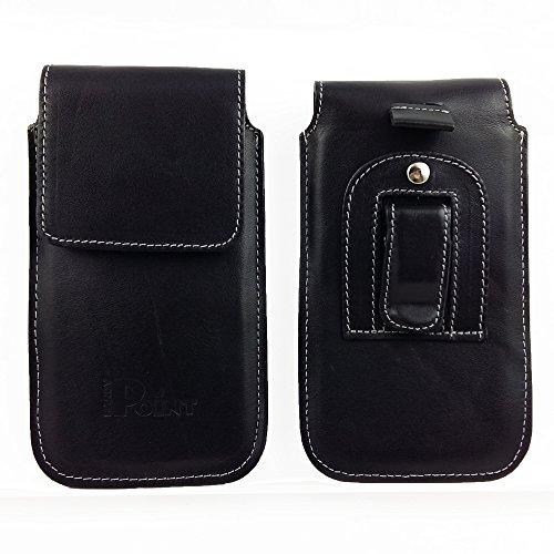handy-point Flap Universell 4'' - 5,1'' Smartphones, Gürteltasche mit Clip aus Echtleder, Tasche für Gürtel Handytasche, Gürtelclip, Befestigung für den Hosengürtel, Ledertasche, Lederhülle, Leder, für iPhone 6, 6S, 7, Samsung Galaxy A3 2016, S3 Neo, S5 Neo, S6, S6 Edge, S7, Huawei P8 Lite... schwarz