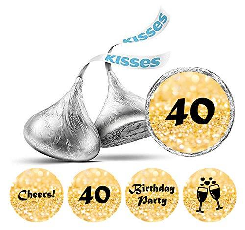 Darling Souvenir Packung mit 190 Stück DIY Prost 40. Geburtstag Aufkleber Hershey Kisses Labels-Flitter Gold