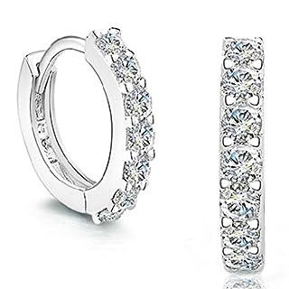 Kongnijiwa Single Row Full Drill AAA Zircon Ear Buckles White Gold Plating Earrings For Women Girl