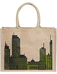 Vermello 100% Jute Bag With Building's Pattern Printed.