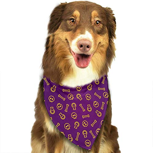 Wfispiy Halloween Pattern Design Pet Dog Bandanas Triangle Bibs Scarf Accessories for Medium to Large Size