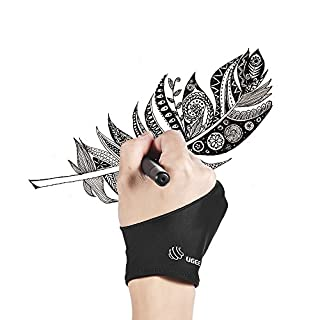 Aibecy UGEE Graphic Tablet Glove Black Double Finger Anti-clogging Glove Suitable for Right and Left Hand for Artist's Tablet Drawing