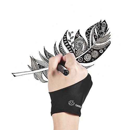 Aibecy UGEE Gant pour tablette graphique Gant de dessin à deux doigts noir anti-encrassement approprié à la main droite et gauche pour le dessin de comprimé d'artiste