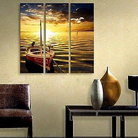 Piteng™ allungata tela arte la nave si fermò presso il fiume insieme pittura decorativa di 3 , 12