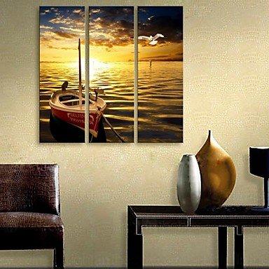 Ling@ allungata tela arte la nave si fermò presso il fiume insieme pittura decorativa di 3 , 12