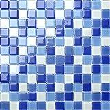 Klarglas Mosaik Fliesen Matte in Blau und Weiß. Verkleidung für Wände. Matte ist 30cm x 30cm (MT0081)