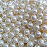 #6: White Pearl Plastic Beads For Jewellery Making Hobby Crafts In All Pearl Shine 125Pcs Pack(6mm)