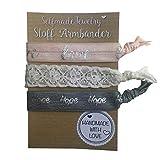SelfmadeJewelry Damen Stoff Armband und Haargummi Set - Love Spitze Hope auf elastischem Bändchen handgemacht