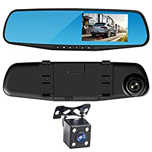 cam ra dvr de voiture zuoao dashcam r troviseur cam ra embarqu e avant et arri re voiture hd. Black Bedroom Furniture Sets. Home Design Ideas