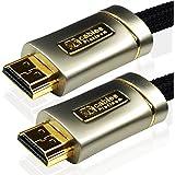 Câble HDMI XO Platinum Haut Débit 2m - 4k, 3D, Full HD, 2160p, HDR, ARC, Ethernet - (HDMI 2.1/2.0b/2.0a/2.0/1.4) pour PS4, Xbox One, Wii, Canal + HD, TVs 4k, LCD, LED, UHD - Noir