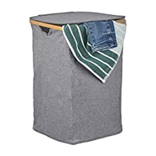 Relaxdays Lidded Laundry Hamper, Folding Clothes Basket, Bamboo & Fabric, Square, Portable, 42 litres, Grey, polyester, bamboo, Gray, One Item