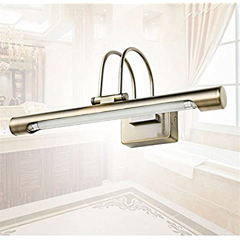 LYNDM 10W 37CM baño moderno LED Luz de espejo de bronce de LED montados en pared 220V Maquillaje Tocador de Baño apliques de luz delantera