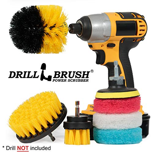 Bathroom Accessories - Drill Brush - Bathroom Set - Scrub Brush and Pad Kit - Cleaning Supplies - Grout Brush, Shower Cleaner, Tub, Sinks, Carpet, Glass Shower Doors - Calcium, Minerals, Hard Water -