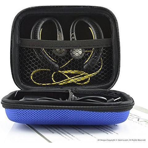 Deportes inalámbrica Bluetooth auriculares funda de transporte, para Jabra Sport Plus, pulso, paso, Rox, Sony mdras200, MDR-J10, MDR-AS200, Beats POWERBEATS 2, Polk UltraFit 3000, Jaybird, Sennheiser OMX 680, Skullcandy Chops/sudor Prueba auriculares inalámbricos auriculares entrenamiento funda de transporte/Bolsa de viaje con espacio para Cable, cargador, partes y accesorios