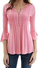 Saingace Women Casual Stylish 3/4 Flare Sleeve Slim V Neck Button Down Blouse Tops Shirt Tee