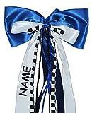 Unbekannt große 3-D Schleife - incl. NAME / Text - 24 cm breit u. 54 cm lang - für Geschenke und Schultüten - Geschenkschleife / Geschenkband - blau weiß schwarz