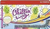 Feutre de Dessin - STABILO Pen 68 - Boîte Métal x 30 Feutres - Décor CHILLIN' Ananas - Coloris Assortis
