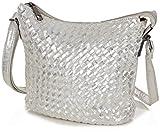 Taschenloft Taschen - Damen Handtasche Silber Tasche - Umhängetasche klein Crossbody - kleine Crossover Handtaschen Glitzer metallic Abendtasche