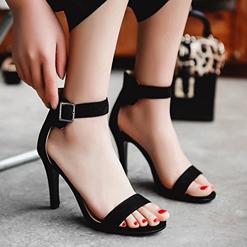 Mee Shoes Damen high heels Nubukleder ankle strap Sandalen Schwarz