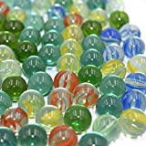 EVELYN LIVING 100 X Coloured Glass Marbles Clear Kids Toys Vintage Classic Traditional Games