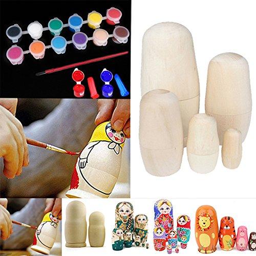 Wildlead 5 stücke DIY Blank Unpainted Holz Verschachtelung Russische Puppen DIY Kit + 12 Farbe Kunst Pigment mit Stift Verschachtelungs-puppen 12