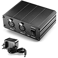 Neewer® 2 Canaux 48V Alimentation Fantôme avec Adaptateur Secteur pour Microphones à Condensateur, Transfert Signal Sonore à la Carte Son Externe