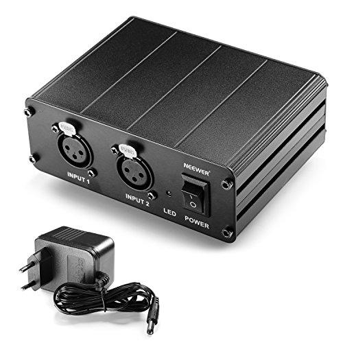 Neewer 2-Kanal-48V-Phantomspeisung Netzteil für Kondensatormikrofone , übertragen den Ton Signal zur externe Soundkarte