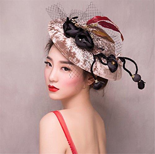 (ELEGENCE-Z Weißer Fascinator Velvet Flower Mesh Top Hat Hochzeits Stil Hat Cap Kopf Bemalung)