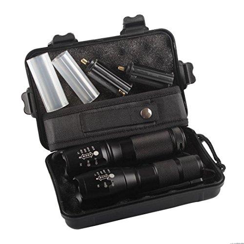 Mitlfuny 2X 5000lm X800 ShadowHawk Taktische Taschenlampe LED Militärischer Grad G700 Fackel Lampe- ideal für Camping, Wandern und Spaziergang mit Hunde (Schwarz)