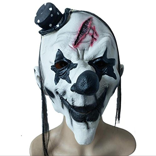Clown Creepy Requisiten (Z@SS-Latex Halloween Maske Clown und Creepy Scary Masquerade Requisiten Cosplay Party Kostüm Fancy Dress Scary Zombie Kopf)