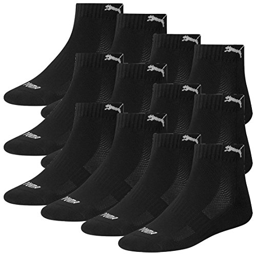 Gepolsterte Sport Quarter Socken (Puma 12 Paar Quarter Socken mit Frottee-Sohle Gr. 35-46 Unisex Cushioned Kurzsocken, Farbe:200 - black, Socken & Strümpfe:39-42)