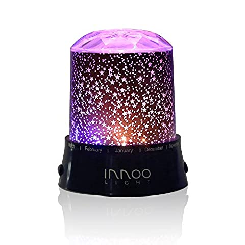 InnooLight Starry Night Light Lamp, LED Sky Star Dreamer Desk Rotating Romantic Starlight Projector Relaxing Mood Light for Children Kids Baby Nursery Bedroom and Christmas Gift Battery