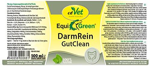 cdVet Naturprodukte EquiGreen DarmRein Pferd 500 ml –  Unterstützung der Futteraufnahme + Verdauung + Darmflora – Verdauungsstörungen – Durchfall – Darmprobleme –