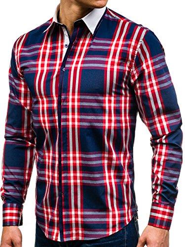 BOLF Herren Freizeithemd Herrenhemd Klassisch Classic Hemd Slim Fit 2B2 Motiv Rot