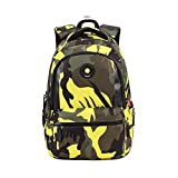 Comfysail Camouflage Printed Printing Primary School Nylon Backpack - Ideal for 1-6 Grade School Students Boys Girls Daily Use and Outdoor Activities (Small, Yellow)