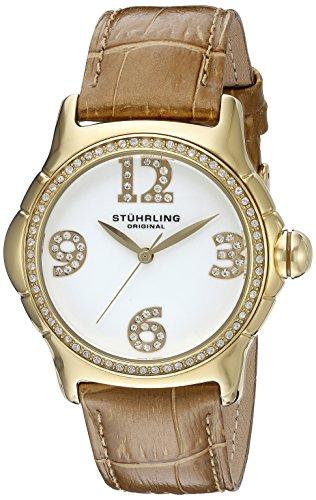 Stuhrling Original Chic - Reloj de cuarzo, para mujer, con correa de cuero, dorado