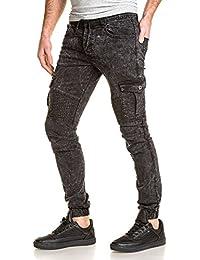 Gov Denim - Jeans Jogger pant noir délavé nervuré cargo homme
