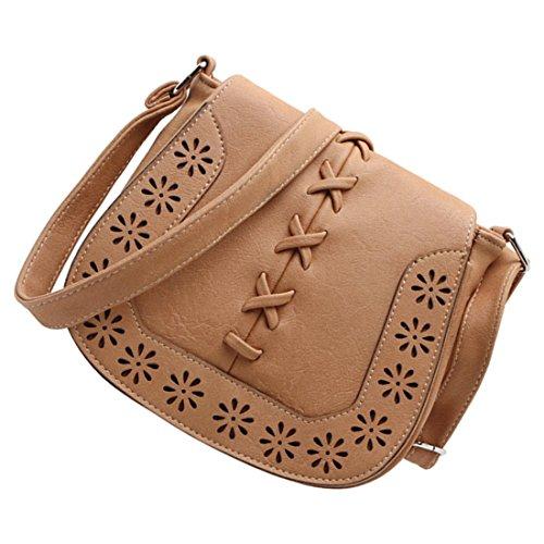 borse di Crossbody - TOOGOO(R)Donne Messenger Bag New Giapponese retro' fresco intagliato scava fuori spalla borse Delle Signore croce corpo borse borsa della donna di Marrone-rosso albicocca