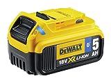 DeWalt Ersatz-Akku (18 Volt, 5,0 Ah XR-Akku mit Bluetooth-Technologie, kompatibel mit allen 18 Volt XR Akku-Maschinen von DeWalt, mit LED-Ladekapazitätsanzeige, problemloser Langzeiteinsatz) DCB184B