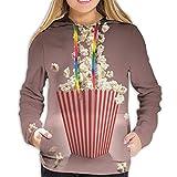 Women's Hoodie Sweatshirt,Retro Style Popcorn Art Image Cinema Movie Theater Theme in Classical Display,M