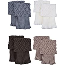 Calentadores de Pierna de Mujer Calcetines de Bota de Puño de Punto, 4 Pares