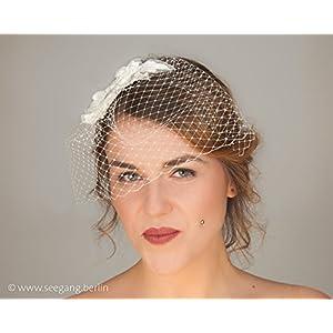 Braut, Fascinator, Spitze, offwhite, Schleier, Hutnetz, Brautschleier, Brautschmuck, Kopfschmuck zur Hochzeit
