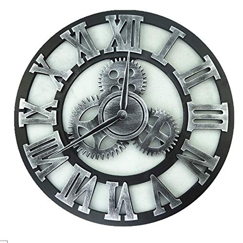Silent & Non-Ticking Wanduhr Vintage Gear Design römische arabische Ziffer Metall Wanduhr batteriebetriebene Runde Rahmen künstlerische dekorative Uhr keine zweite Hand stumm ticken Wand Kunst Dekor f (Metall-rahmen-wand-kunst)